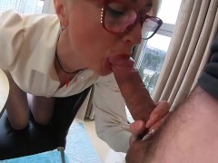 Horny Teacher Sucking Big Cock and Ass Fucking until Cum on Glasses