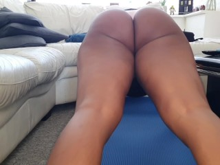 Wifes sister doing her morning workout thong flashing...