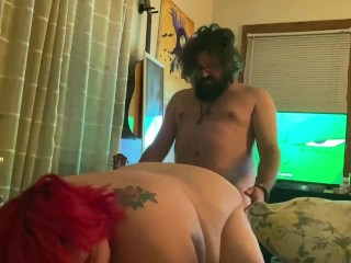 Pounding behind and cumming on her ass...