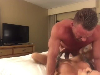 Big muscled and bearded man fucks till he cums all over perfect tattooed model