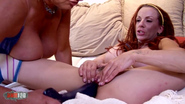 Two horny MILF sluts eating each others pussies and dildoing 12