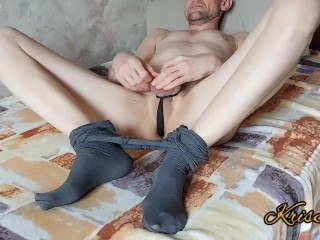 solo guy caresses and massages his penis, feet and anal in pantyhose and being naked