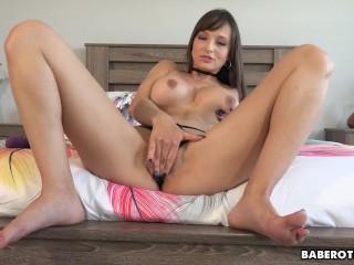 Solo fuck doll, Lexi Luna is gently masturbating, in 4K