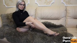 BEAUTIFUL BLONDE MILF TEASES WITH HER NYLON FEET