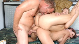 Hot Asian and Teen with Big Tits Tagteam The MILF Hunter and get Fucked Hard receive big cum load
