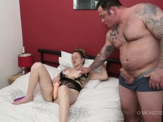British Milf takes tattooed muscled stud Seth Strong thick dick up her arse before anal creampie