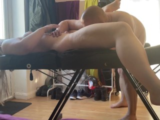Male massage therapist doing erotic massage with fingering and pussy licking happy ending on blonde