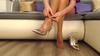 Beautiful legs in tan stockings, sexy high heels, stockings feet teasing