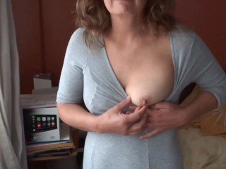 Hairy mature mother showing off of her sons...