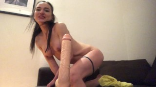 Deepthroat queen Nataly Gold makes sloppy blowjob for big dildo