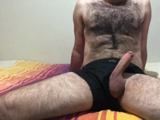 Sexy hairy man have fun body massage handjob...
