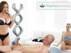 NuruMassage Rookie Masseuse Emma Hix Tries Threesome Massage With Cum-Swapping