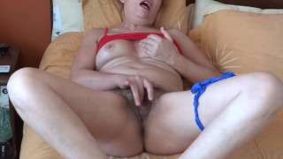COMPILATION OF INTENSE ORGASMS OF MY MATURE WIFE, HAIRY PUSSY, GROANS, LINGERIE