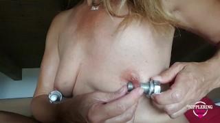 nippleringlover Removing Screws from Pierced Nipples - fingering stretched nipple piercing - torture