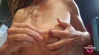 nippleringlover pierced nipple play - inserting 16mm tunnels in extreme stretched nipple piercings