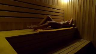 In The Late Evening Girl Masturbates In Sauna In Sports Center