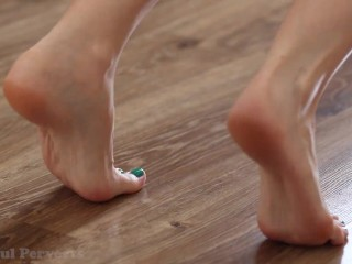Close up on flexible feet during exercise & stretching