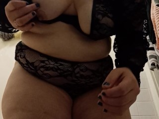Bbw striptease during family party...