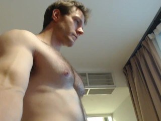 Posing stripe muscle body tour flyover hotel room...