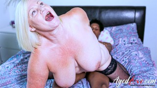 AGEDLOVE Blonde Mature Riding Big Black Cock