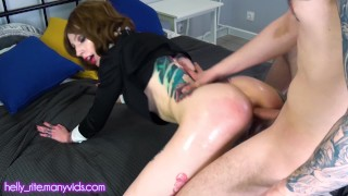 Pretty school girl Helly Rite gets cock in ass roleplay daddy's girl spanking squirt after vibrator