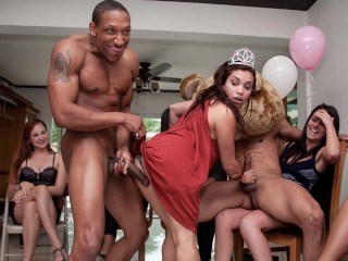 DANCING BEAR - Wild CFNM Birthday Party With Big Dick Male Strippers