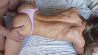 She was too horny to take off her panties after gym - Fit girl with perfect ass fucked by big cock