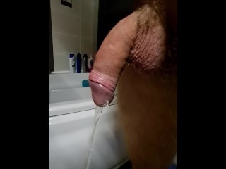 Cock peeing and farting...