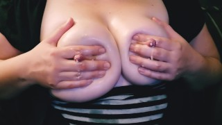 Milking My Big Oiled Boobs - MILK SQUIRTING!