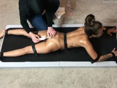 Jazmine Face Down and Nude on the Tickling Table - (partial clip)