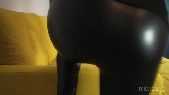 Mistress touch her tight ass and legs in leather leggings 2