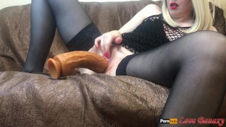 MILF Masturbates with Huge Dildo, Fisting and Squirting Orgasm