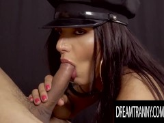 Thick TS Jailer Drika Lima Trades Ass Fucks Behind Bars With Lucky Criminal