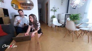 Spanish secretary has a squirt in her boss's mouth and begs for him to cum in her mouth too.