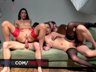 Anal foursome with 2 French girls