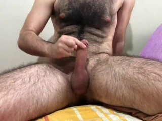 Hairy man masturbation on belly big ball hairy...