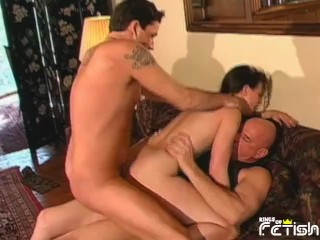 Brunette her cunt penetrated by three horny men...