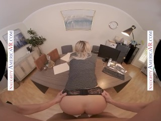 Naughty America – Blonde babe Harmony Rivers fucks you to make a good impression on her job intervie