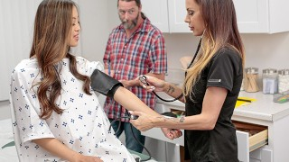 Screen Capture of Video Titled: Caring Stepdad Gets His StepDaughter Alexia Anders At Medical Exam And Both Get Special Treatment