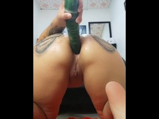Anal masturbation with a huge cucumber