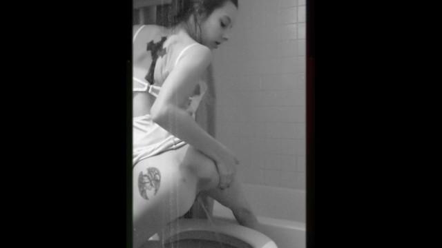 Peeing in formal white dress 4