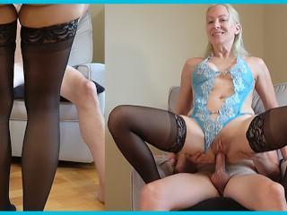 Real big tit blonde amateur lingerie stockings chair...