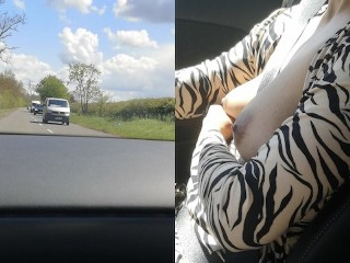 Risky topless drive by mixed race milf...