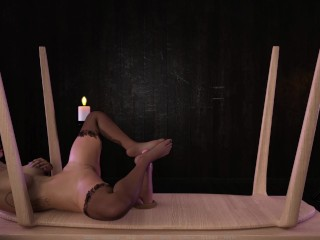 Lana and the milking table sexy legs footjob...
