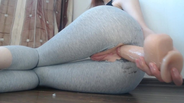 My juicy pussy drips and squirts from ANAL orgasm after gym in ripped leggings