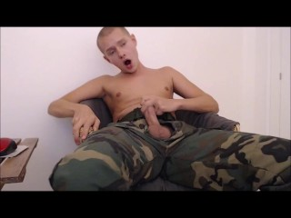 Soldier cumming in his own mouth