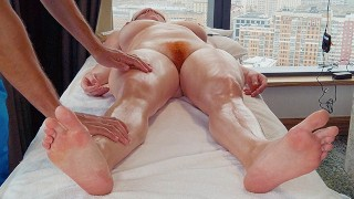 Sensual Oily Big Boobs Curvy Redhead MILF Massage Ends in Hairy Pussy Creampie Licking | Ginger Ale