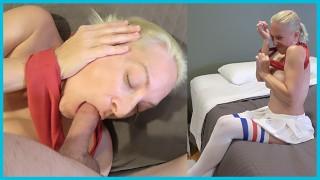 SHE GOT STUCK E07: Big Tit Blonde MILF Stuck In Her Sports Bra Takes A Load