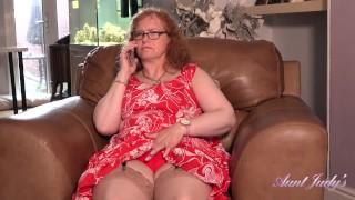 Aunt Judy's - Curvy 53yo Redhead Fiona has PHONE SEX in Stockings & Garters