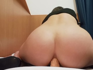 PAWG in black thong enjoys a quick anal dildo fuck